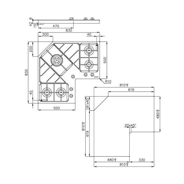 Foster 7038 052 piano cottura Online - OltreIncasso